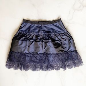 Chanel Vintage Lace Edged Mini Skirt